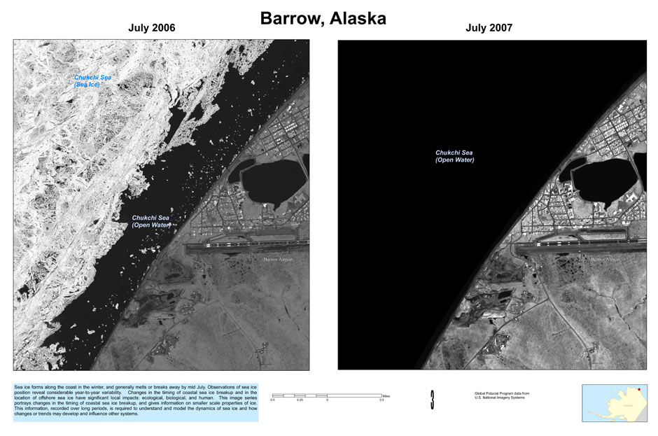 Satellite photos, Point Barrow Alaska (U.S. Geological Survey)